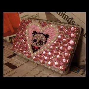 panda lovers sparkle & pearl card case